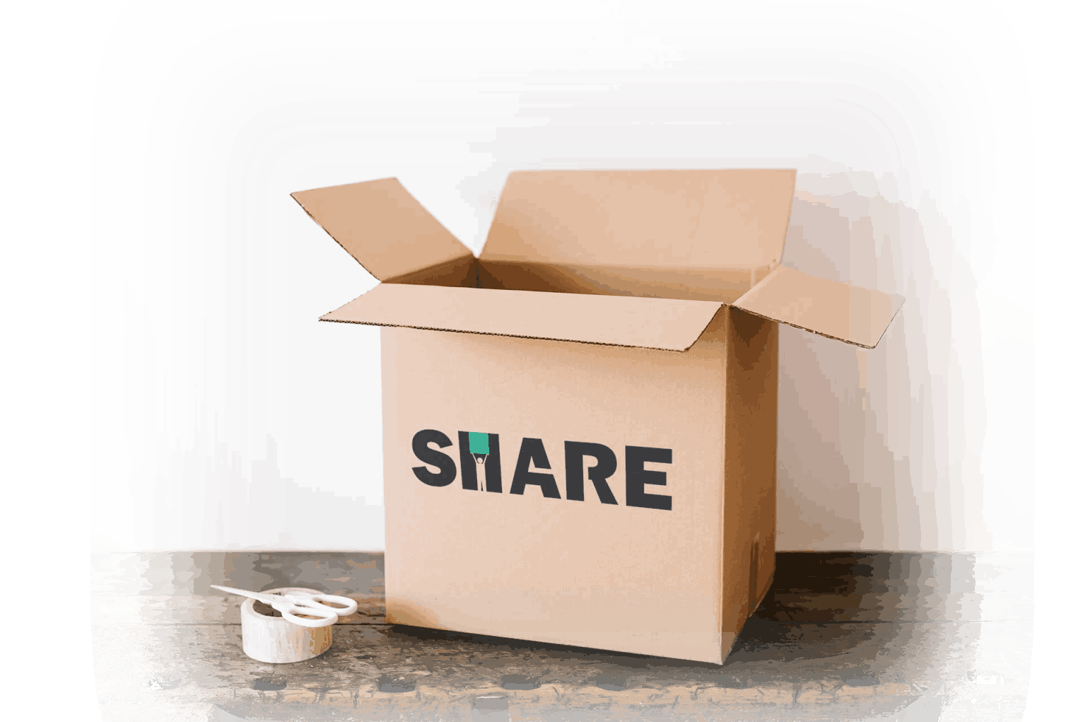 Scatole con il logo di Share
